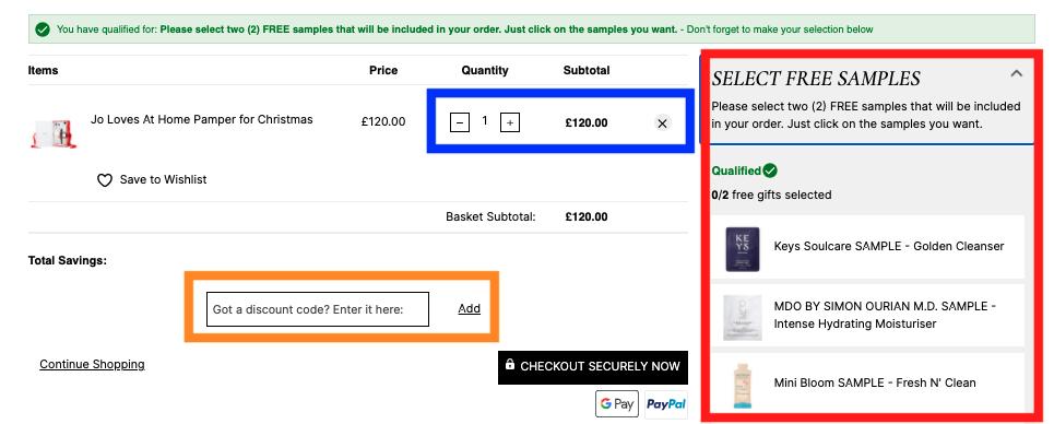【登録と買い方】海外通販カルトビューティー【クーポンコード/送料/関税/購入不可ブランド】  買い方 買い物bagを確認 サンプル選択