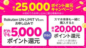 【2021年4月】楽天モバイル割引クーポン・紹介コード・キャンペーン【まとめ】 Rakuten UN-LIMIT VI(SIM) 申込みで5,000ポイント還元
