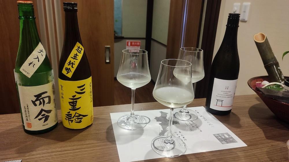 三重県鳥羽市 季さら別邸刻(Toki)の料理(お食事)  三重の地酒飲み比べ